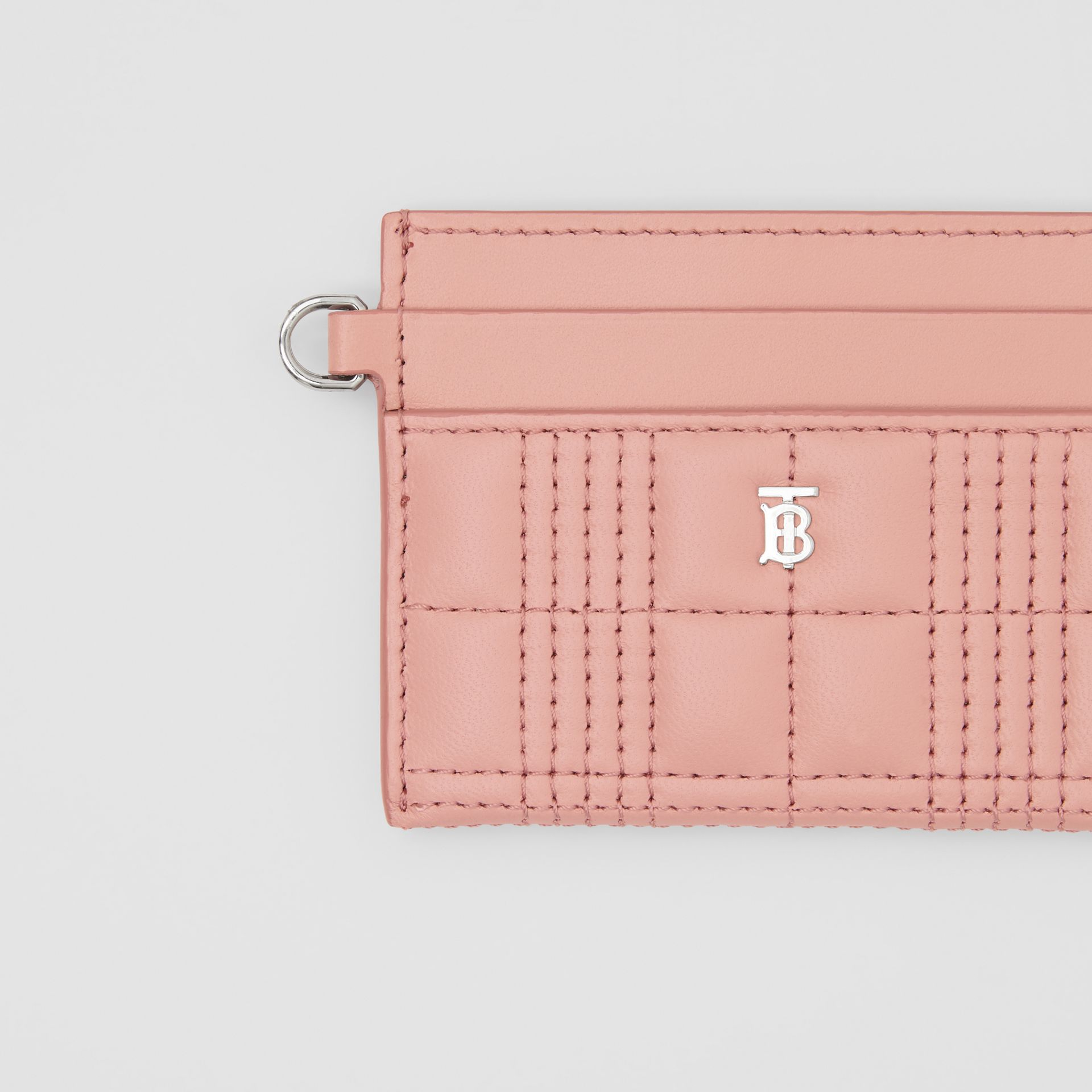 Monogram Motif Quilted Lambskin Card Case in Blush Pink - Women | Burberry - gallery image 1