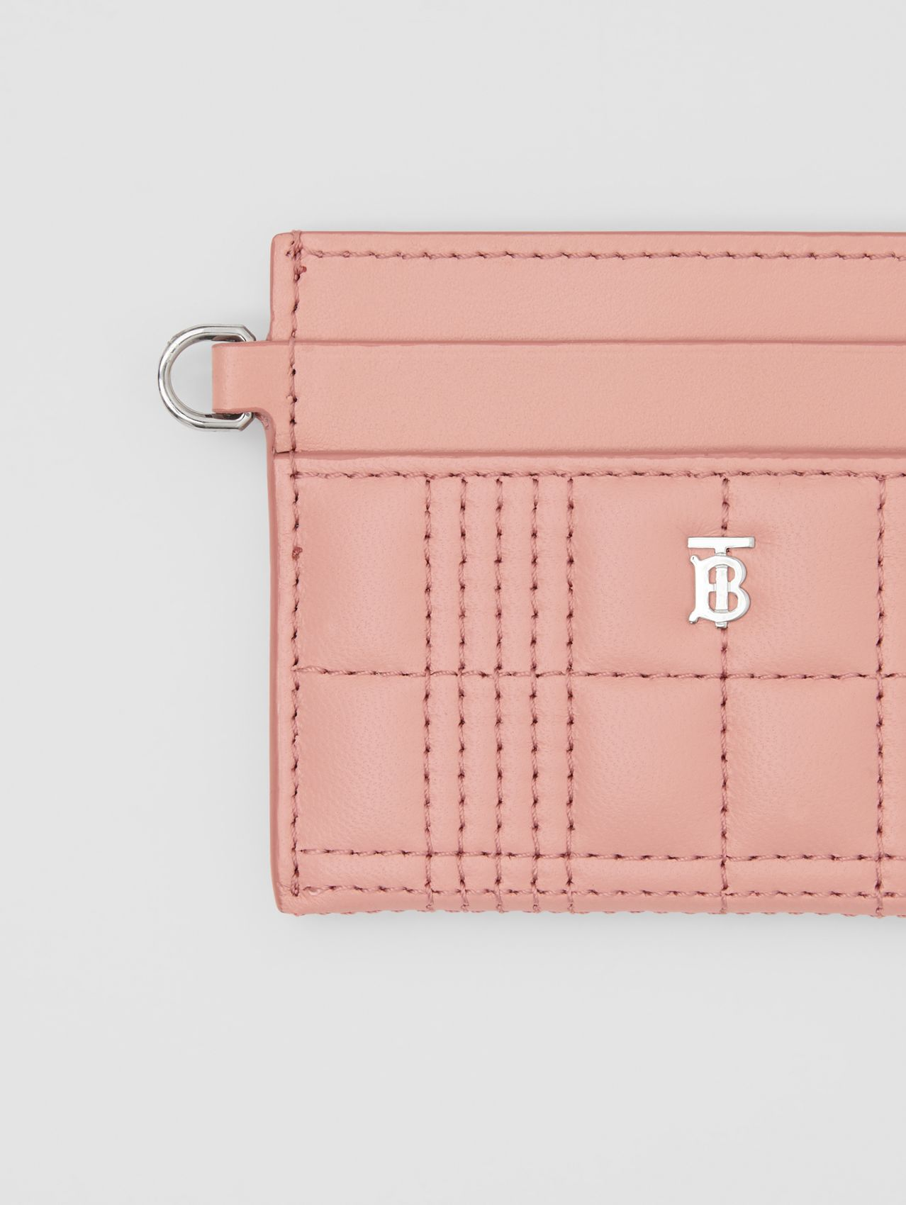Monogram Motif Quilted Lambskin Card Case in Blush Pink