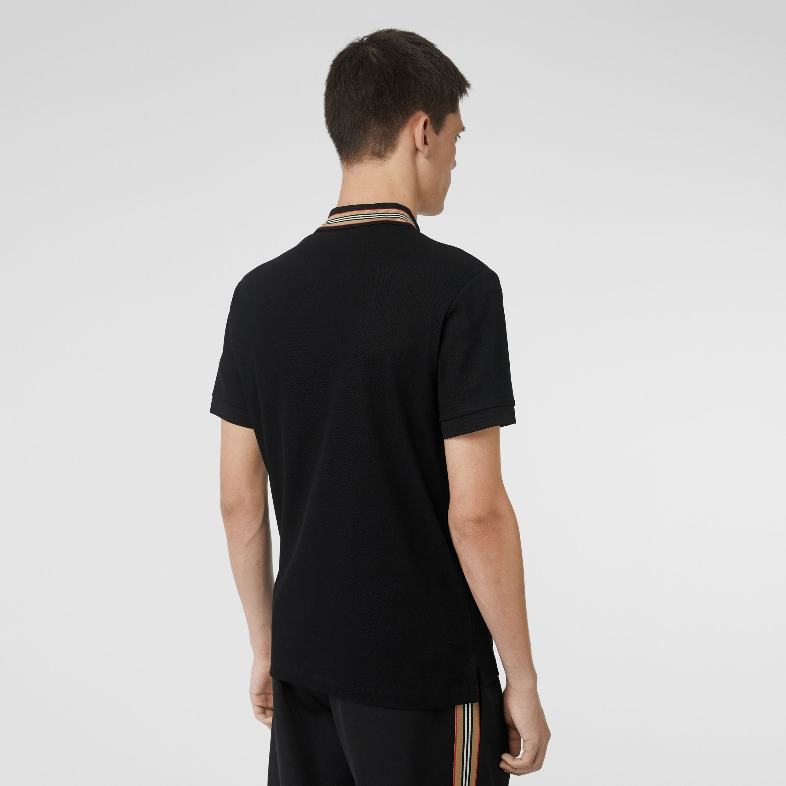 Icon Stripe Detail Cotton Piqué Polo Shirt in Black - Men | Burberry - 3