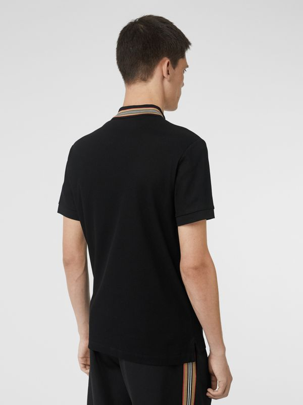 Icon Stripe Detail Cotton Piqué Polo Shirt in Black - Men | Burberry - cell image 2