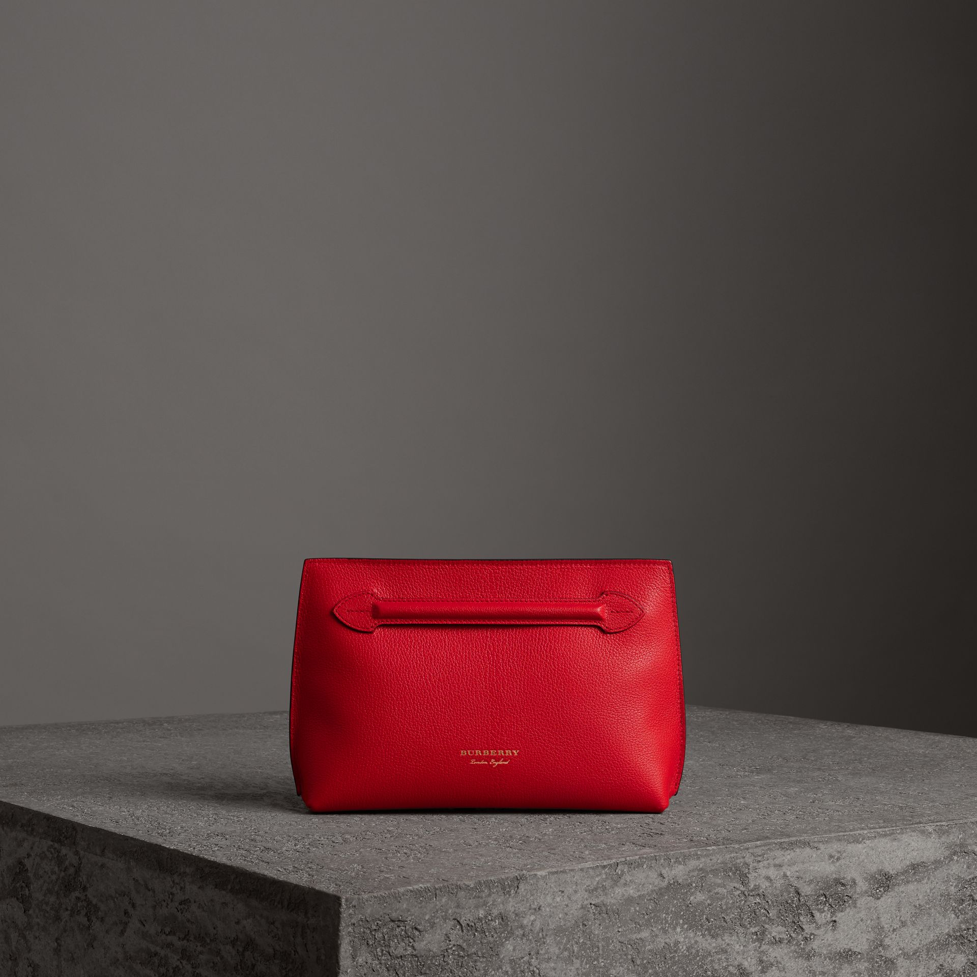 Grainy Leather Wristlet Clutch in Bright Red - Women | Burberry United Kingdom - gallery image 0
