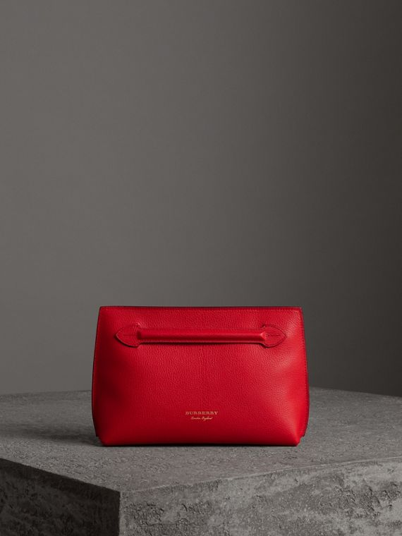 Grainy Leather Wristlet Clutch in Bright Red