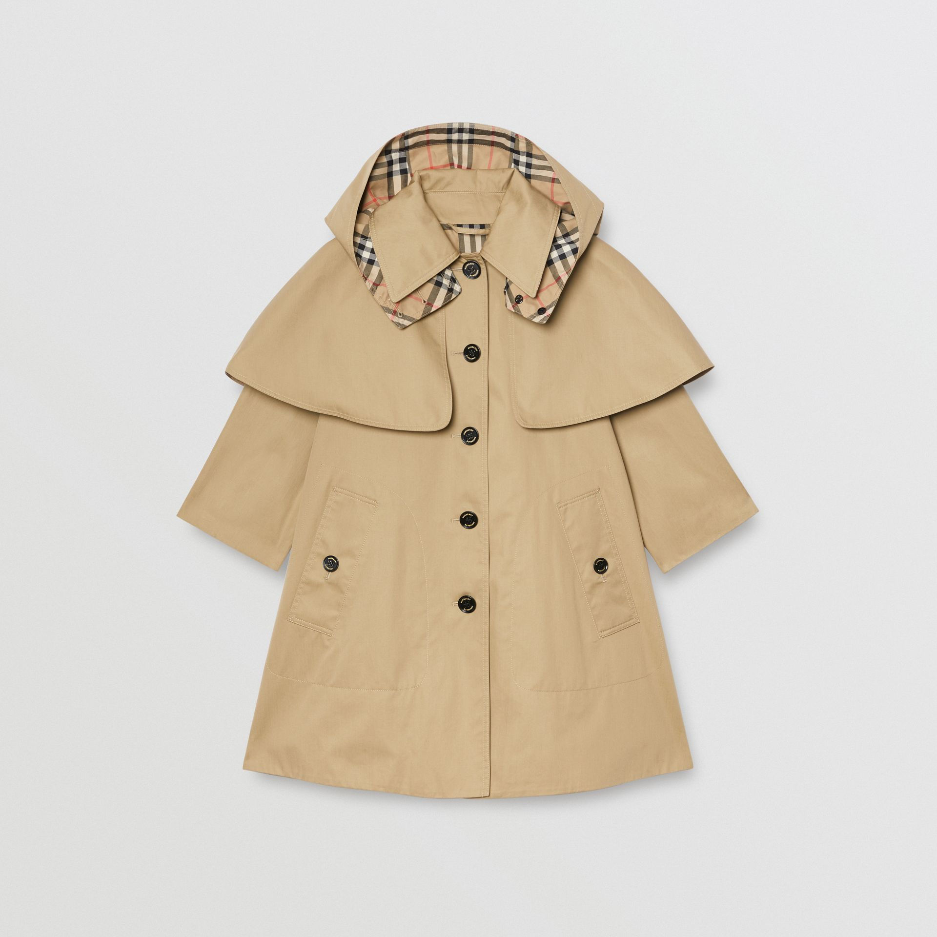 Detachable Hood Showerproof Cotton Swing Coat in Honey | Burberry United Kingdom - gallery image 0