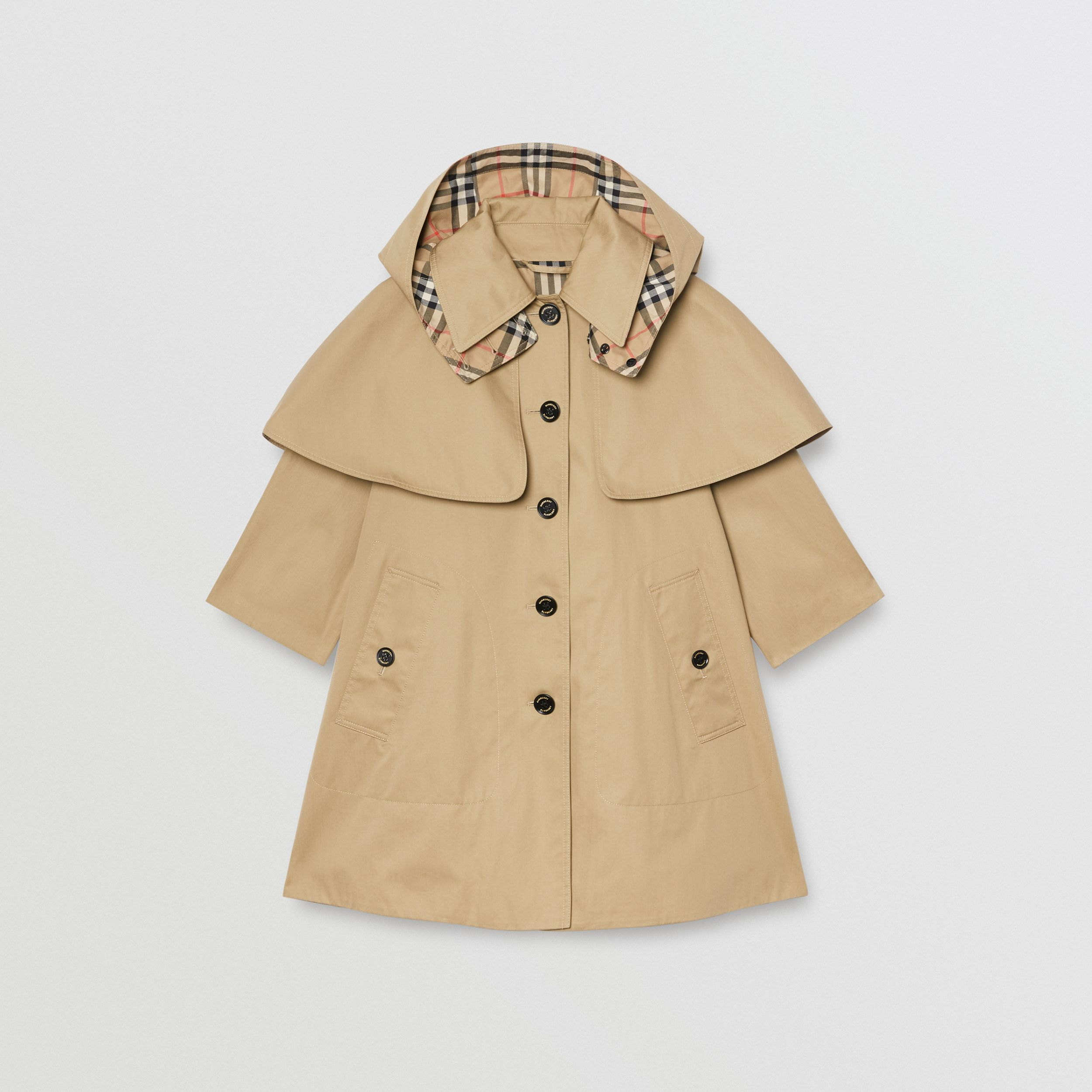 Detachable Hood Water-resistant Cotton Swing Coat in Honey | Burberry - 1