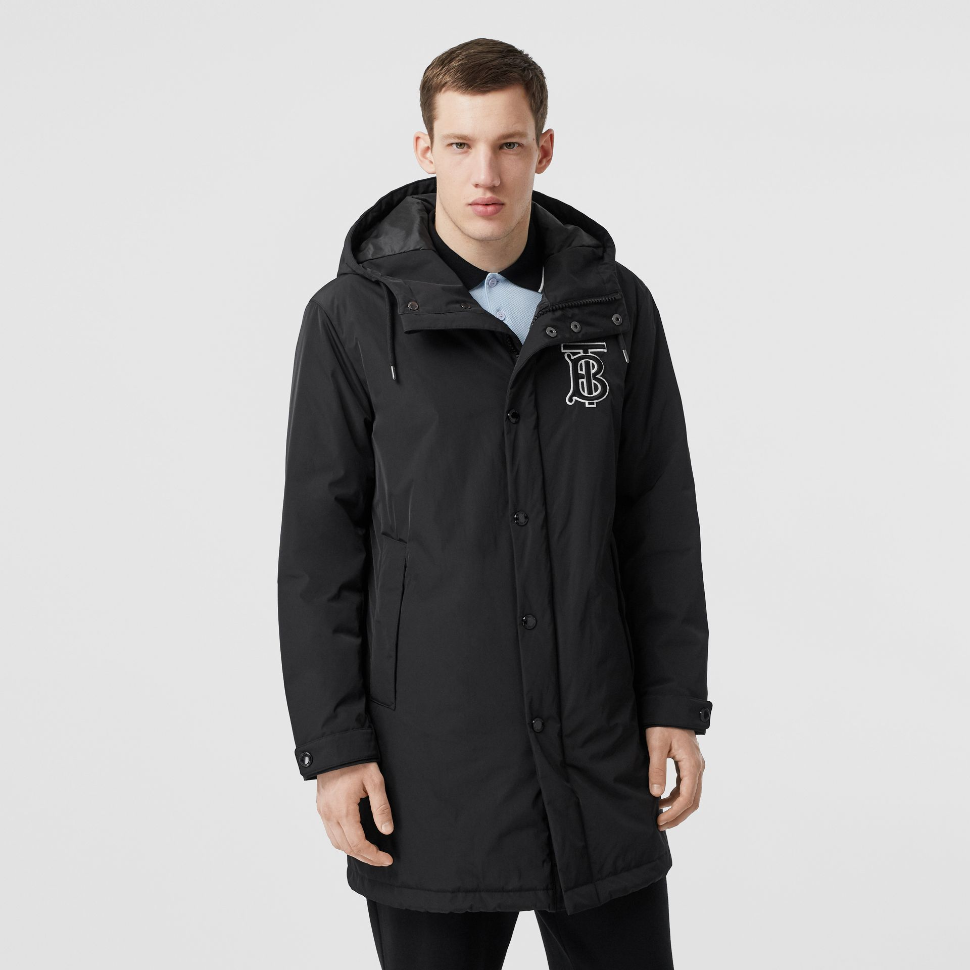 Monogram Motif Nylon Twill Hooded Coat in Black - Men | Burberry - gallery image 6