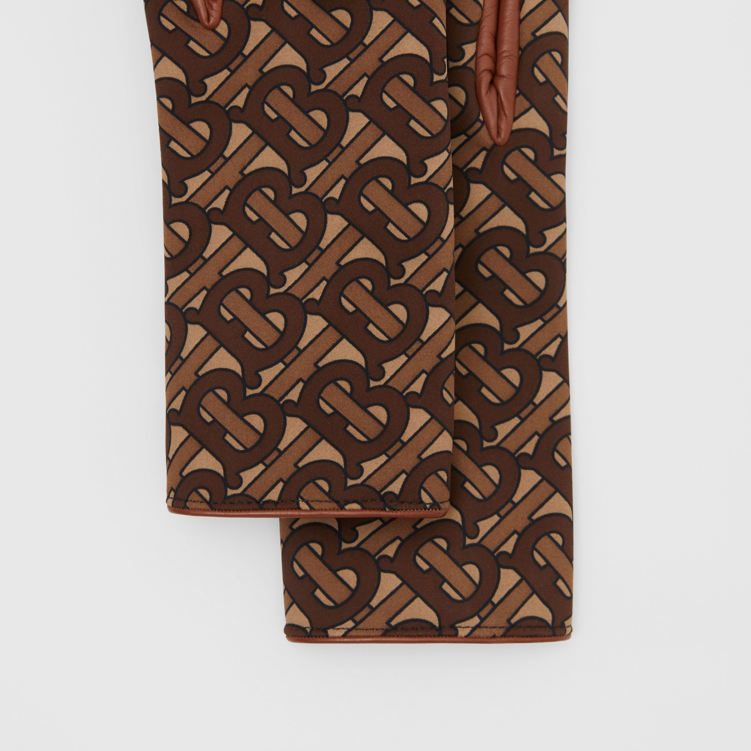 Cashmere-lined Monogram Print Lambskin Gloves in Bridle Brown | Burberry - 2