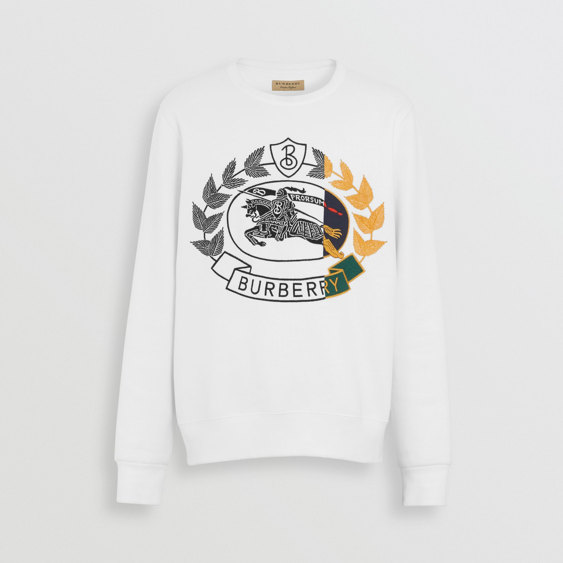 Embroidered Crest Jersey Sweatshirt in White - Men | Burberry - gallery image 3