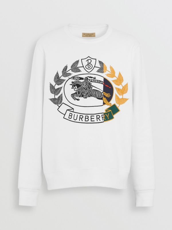 Embroidered Crest Jersey Sweatshirt in White - Men | Burberry - cell image 3