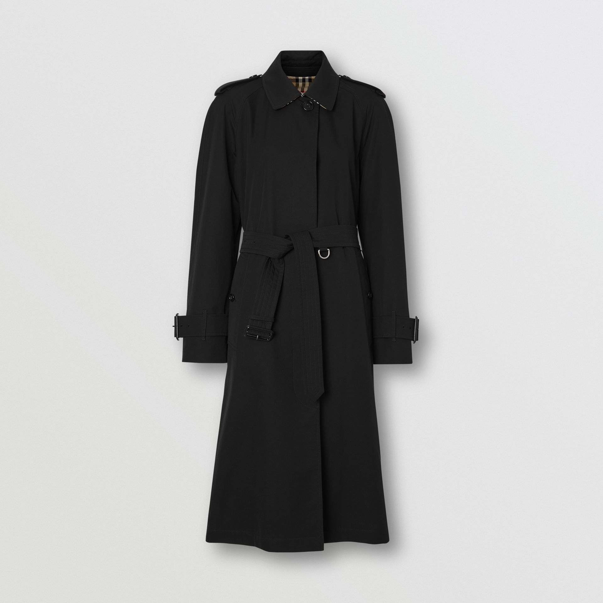 Tropical Gabardine Belted Car Coat in Black - Women | Burberry United States - gallery image 3