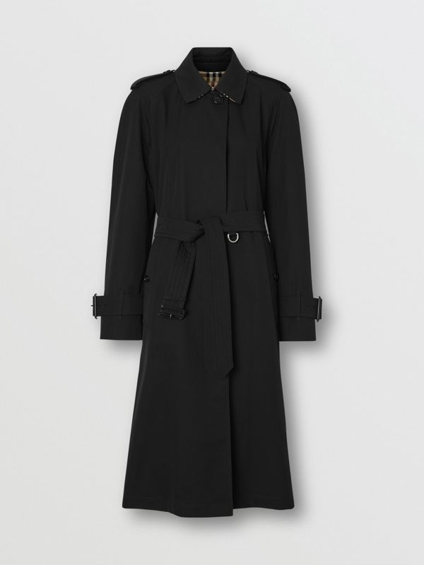 Tropical Gabardine Belted Car Coat in Black - Women | Burberry United States - cell image 3