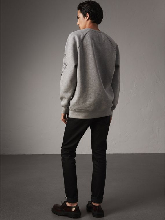 Doodle Print Jersey Sweatshirt in Pale Grey Melange - Men | Burberry Singapore - cell image 2