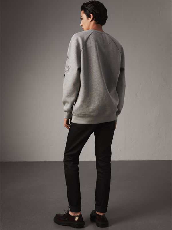 Doodle Print Jersey Sweatshirt in Pale Grey Melange - Men | Burberry - cell image 2