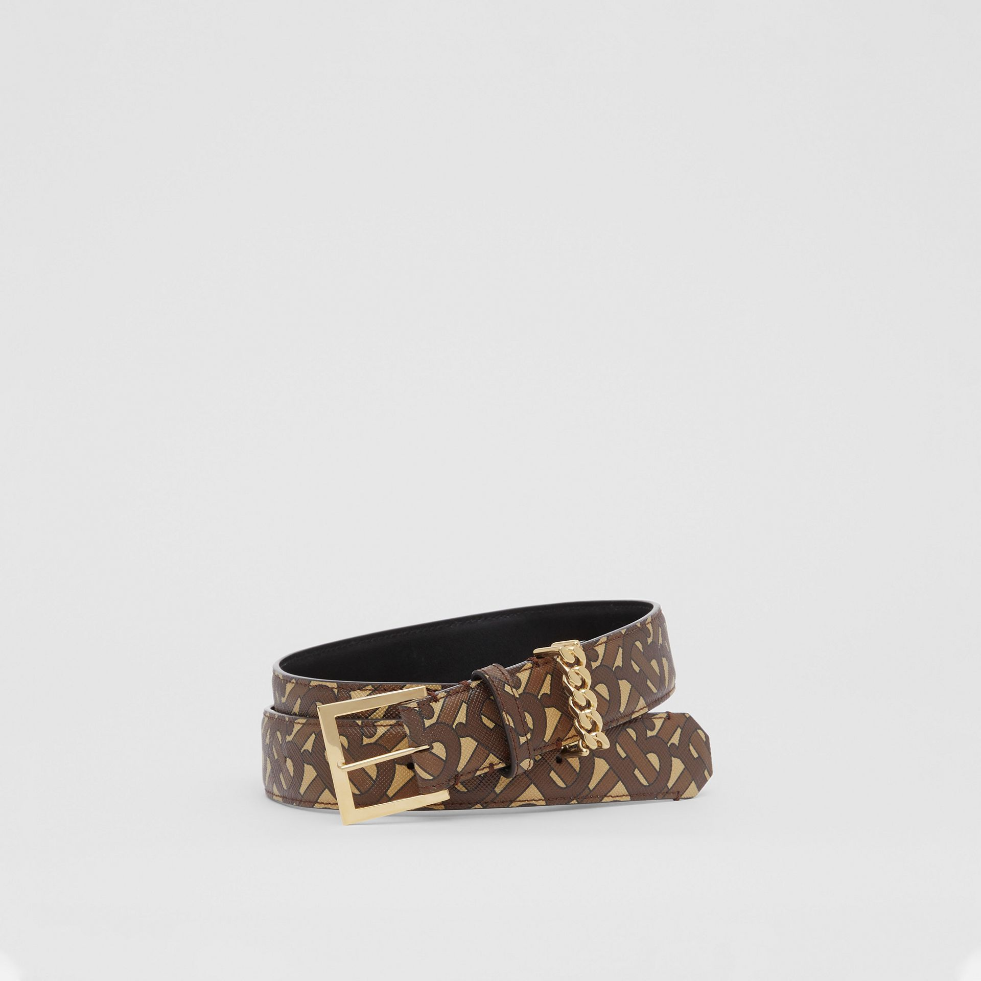 Chain Detail Monogram Print E-canvas Belt in Bridle Brown - Women | Burberry - gallery image 0