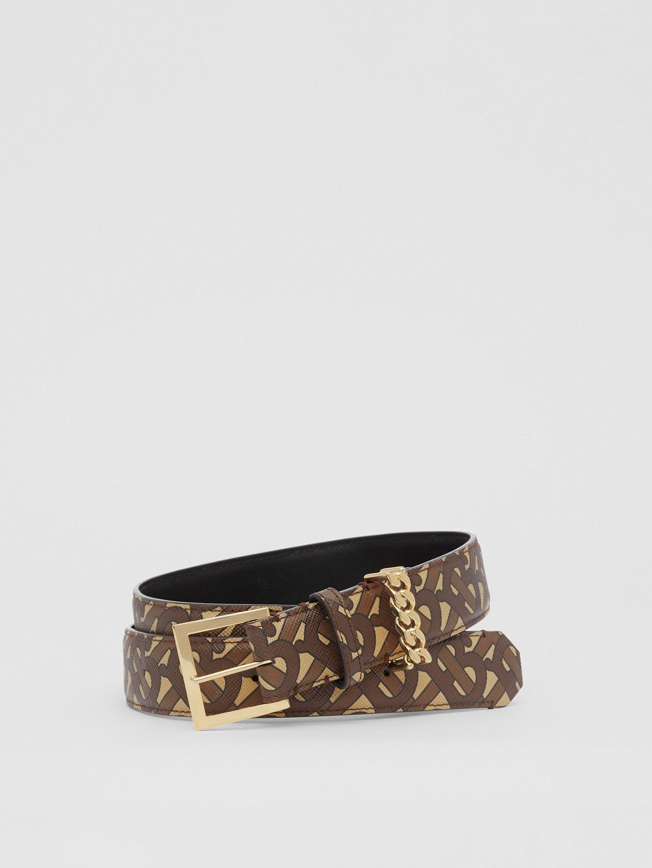 Chain Detail Monogram Print E-canvas Belt in Bridle Brown