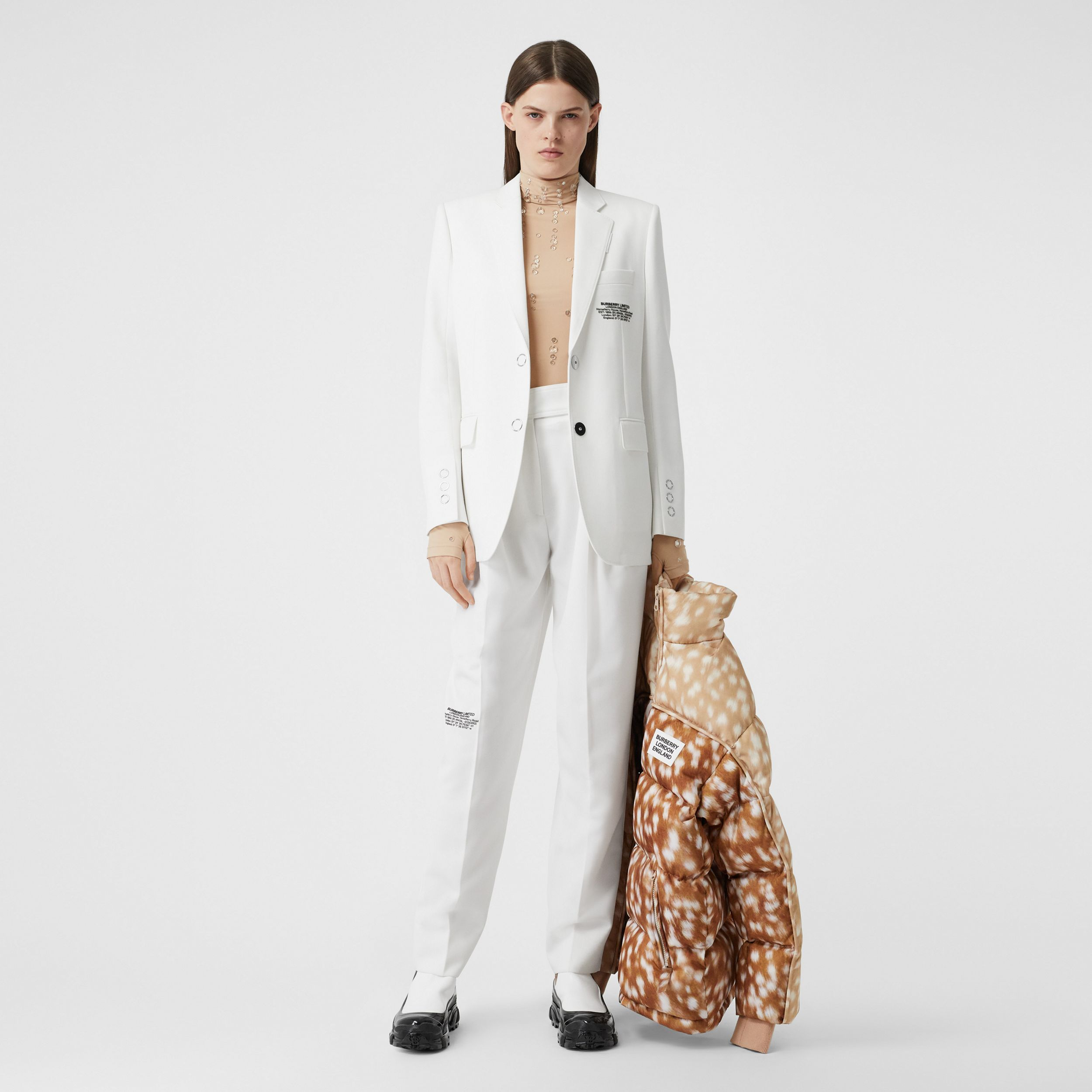 Location Print Wool Blend Tailored Trousers in Optic White - Women | Burberry - 1