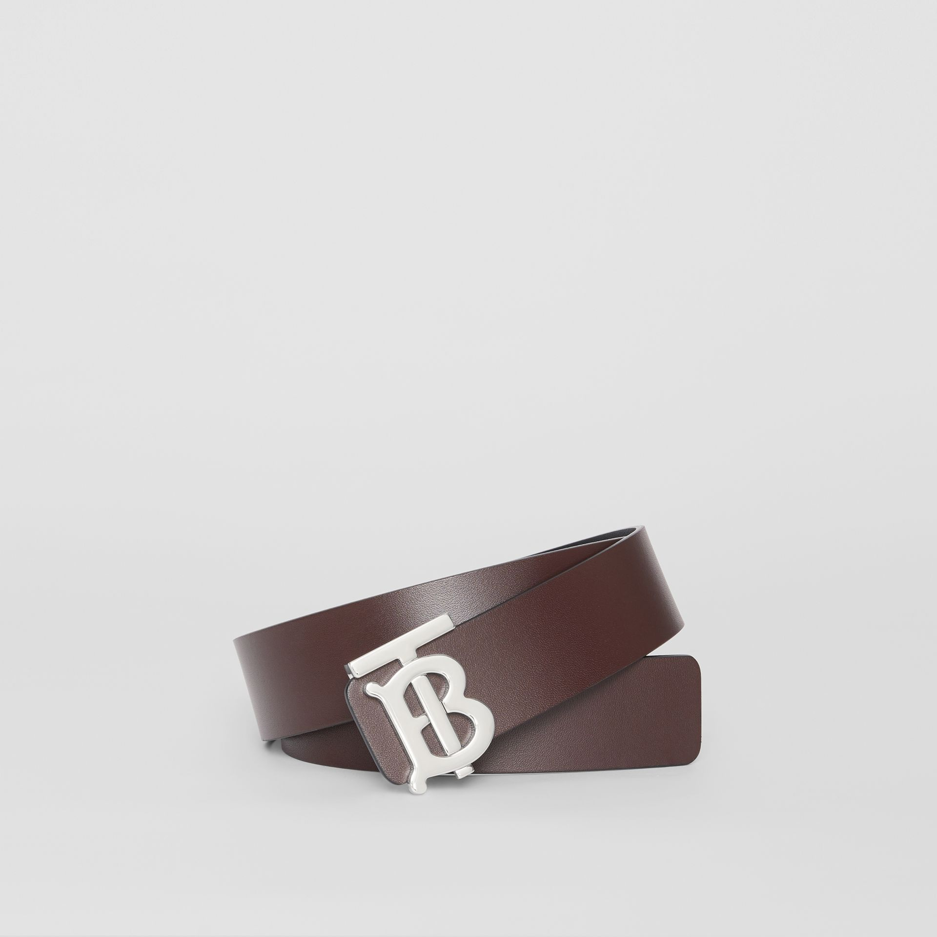Reversible Monogram Motif Leather Belt in Oxblood - Men | Burberry United Kingdom - gallery image 0