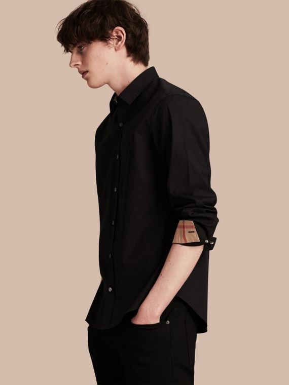 Check Detail Stretch Cotton Poplin Shirt in Black