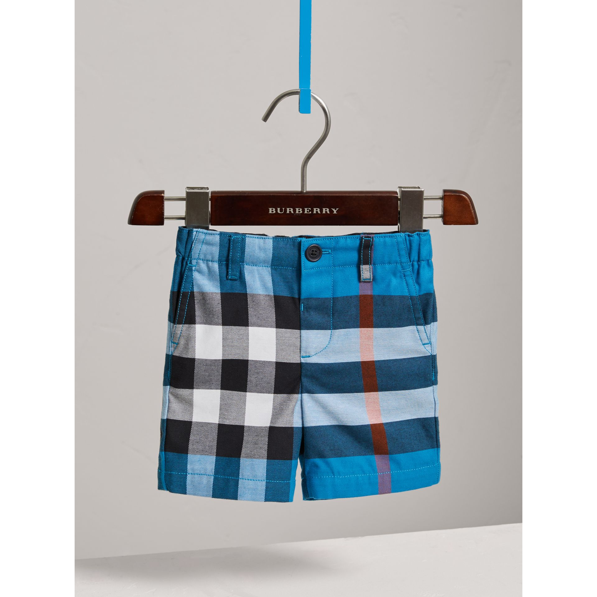 Check Cotton Chino Shorts in Azure Blue | Burberry - gallery image 2