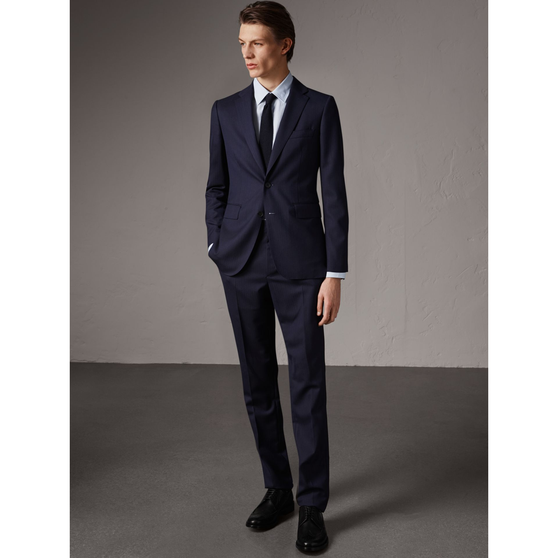 Soho Fit Herringbone Wool Suit in Navy - Men | Burberry - gallery image 0