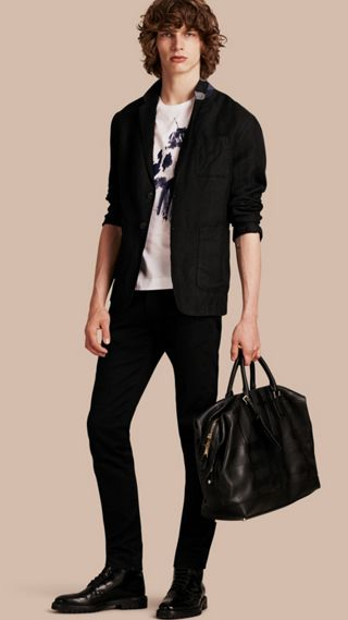 Herringbone Linen Cotton Tailored Jacket