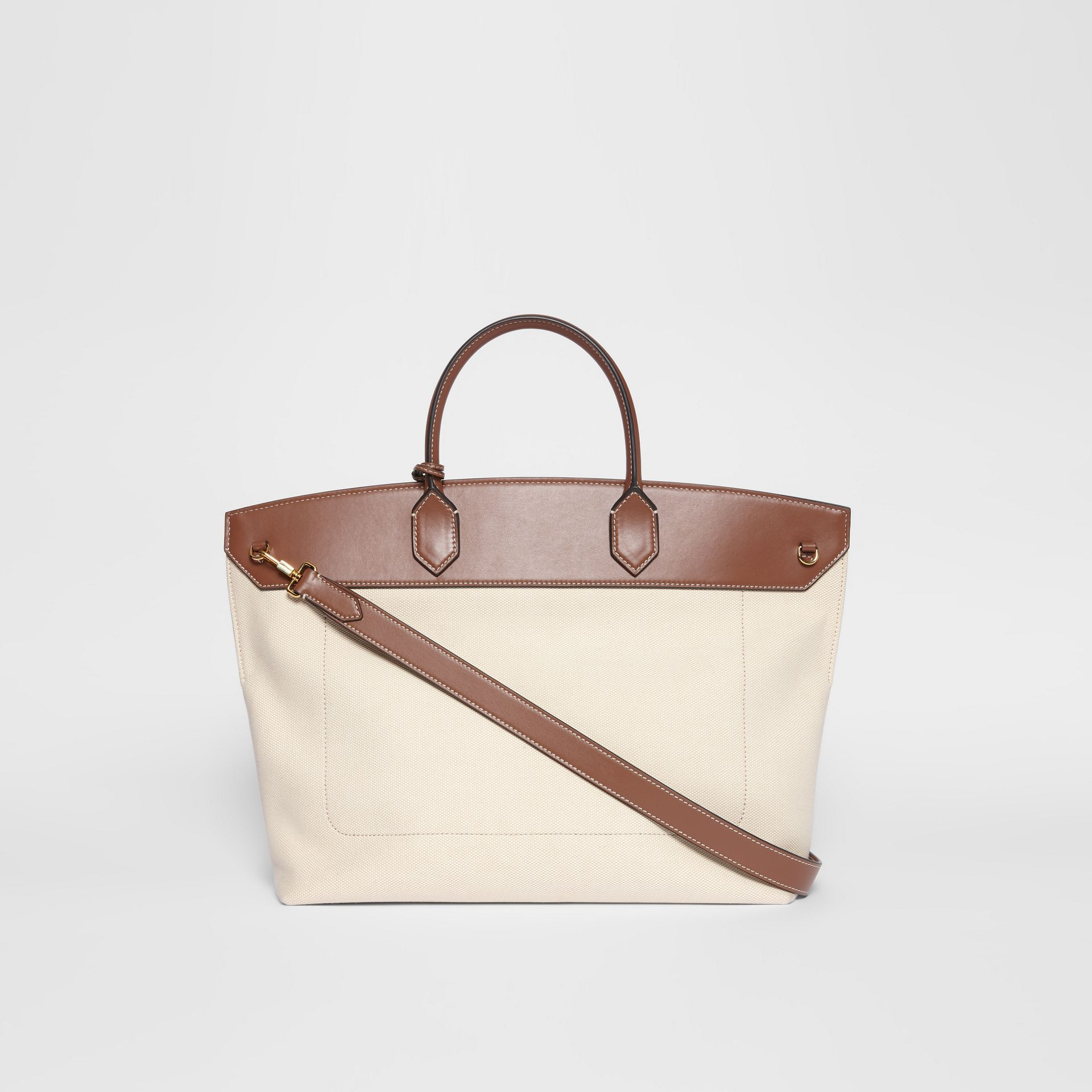 Cotton Canvas and Leather Society Top Handle Bag in Natural/malt Brown - Women | Burberry - gallery image 7