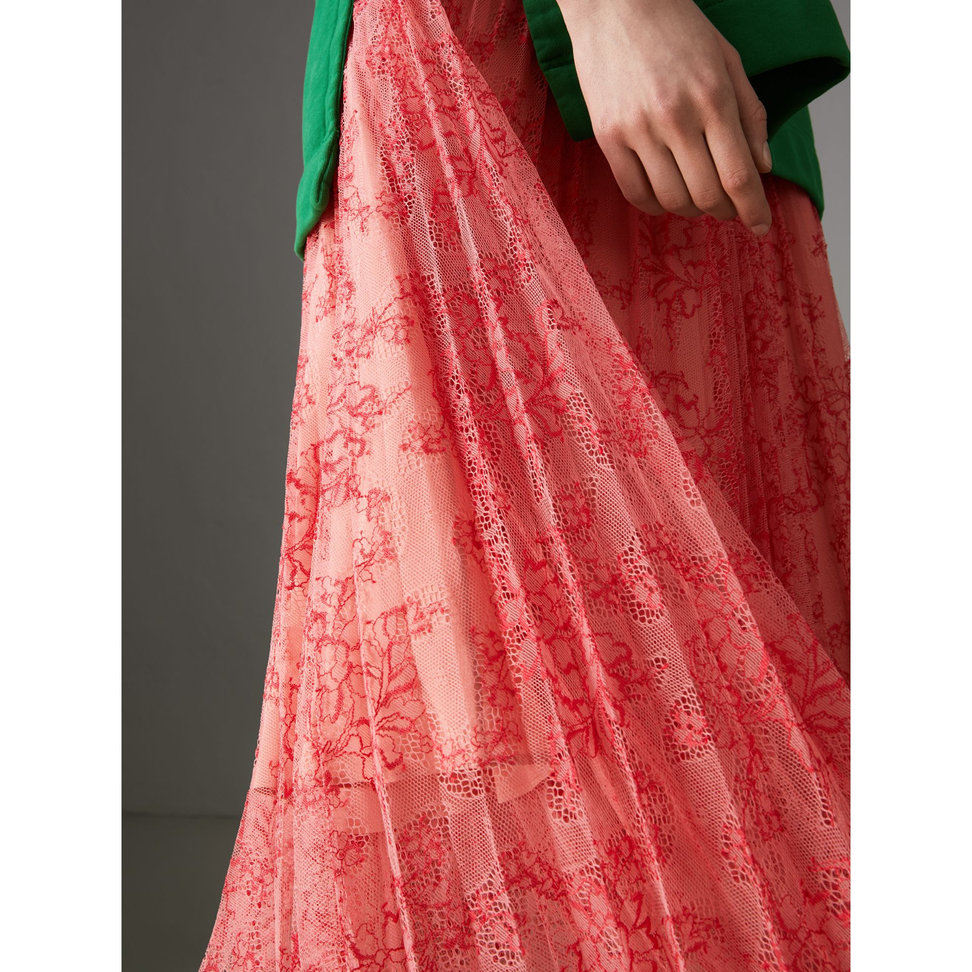 Pleated Lace Skirt in Pale Apricot/coral - Women | Burberry - gallery image 3