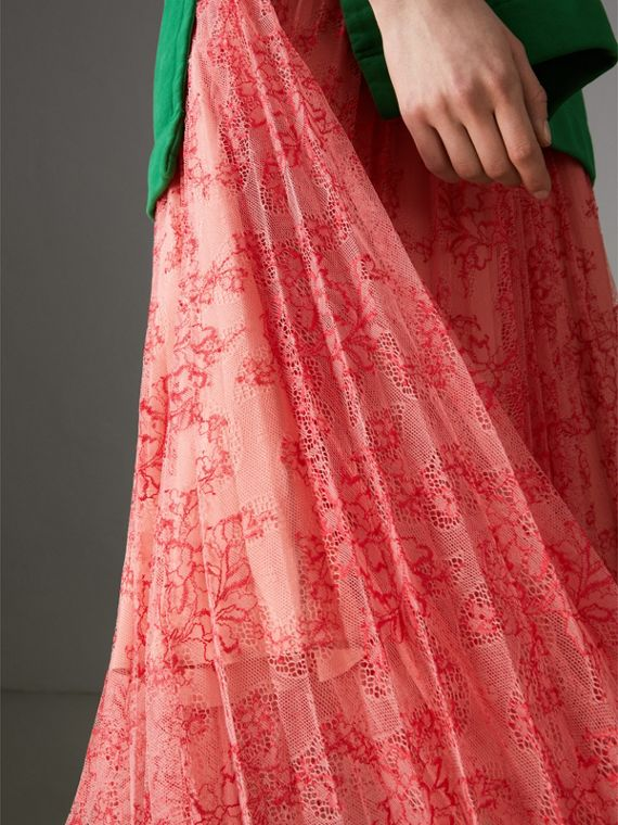 Pleated Lace Skirt in Pale Apricot/coral - Women | Burberry - cell image 3