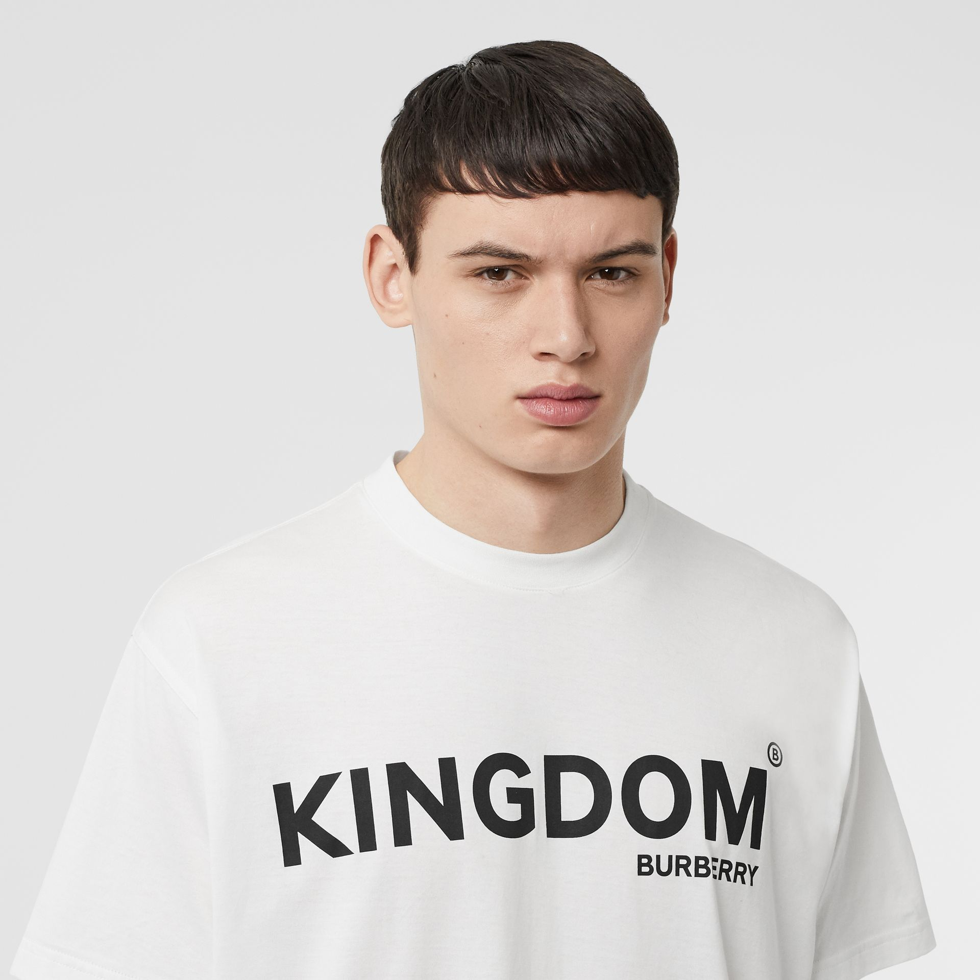 Kingdom Print Cotton T-shirt in White - Men | Burberry - gallery image 1