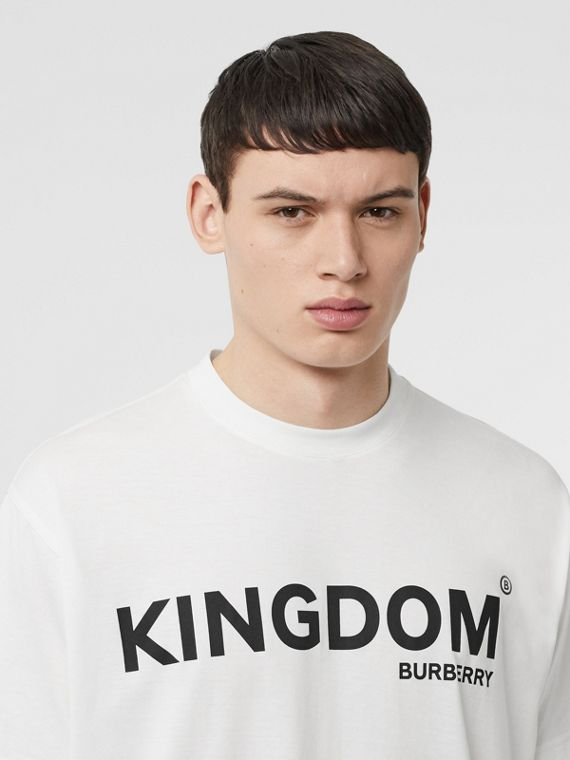 Kingdom Print Cotton T-shirt in White