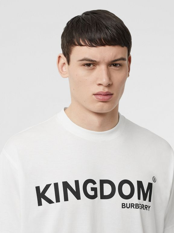 Kingdom Print Cotton T-shirt in White - Men | Burberry United States - cell image 1