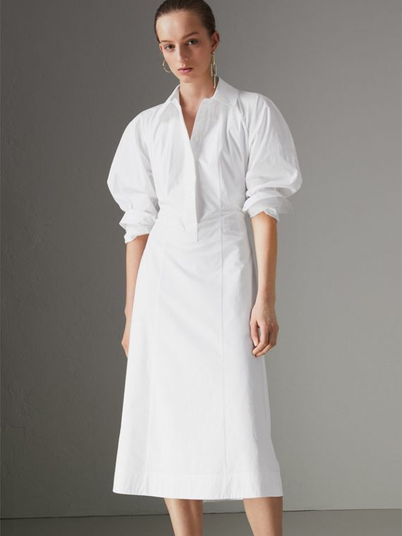 Panelled Stretch Cotton Shirt Dress in White