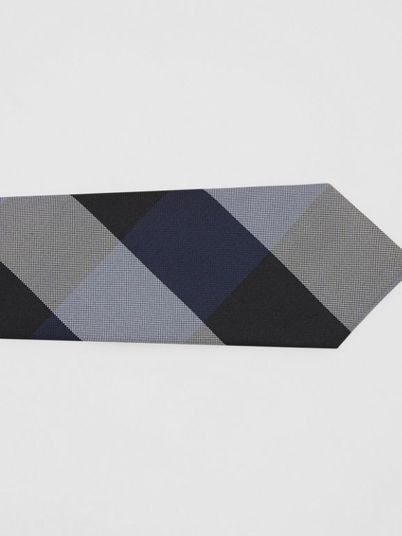 Modern Cut Oversized Check Silk Tie in Navy - Men | Burberry - cell image 1