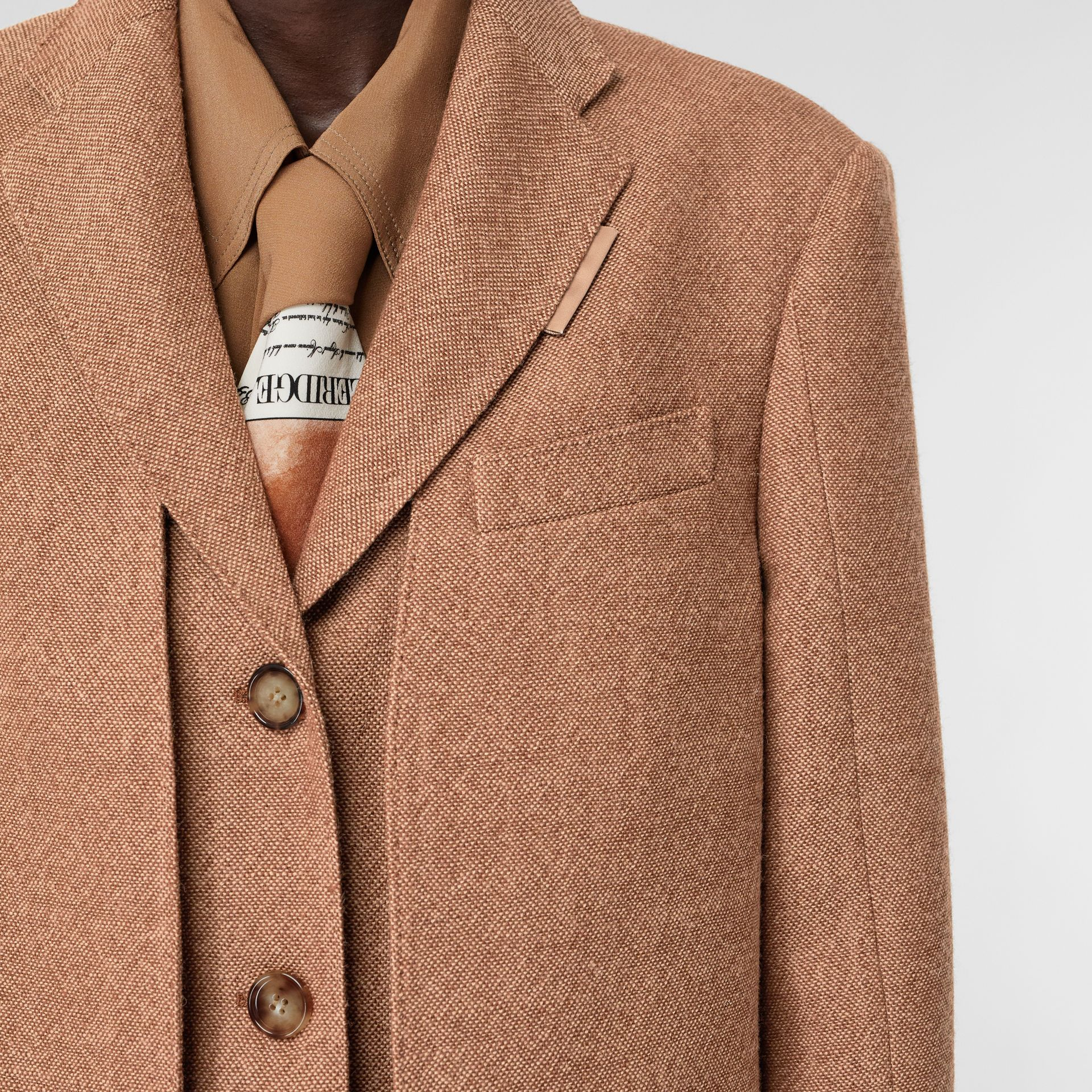 Waistcoat Detail Wool Tailored Coat in Bronze - Women | Burberry - gallery image 6