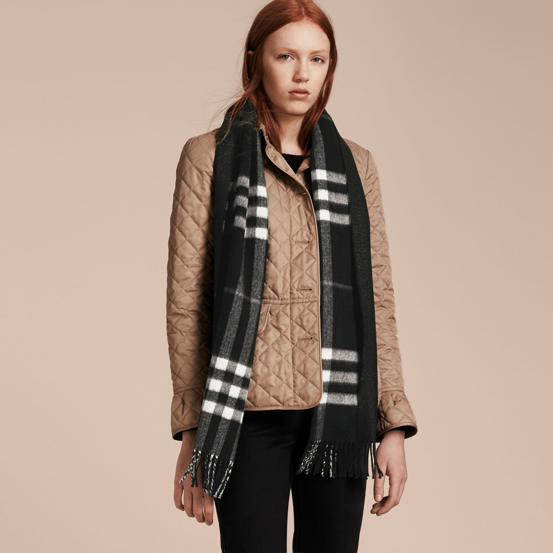Reversible Metallic Check Cashmere Scarf Black - gallery image 3