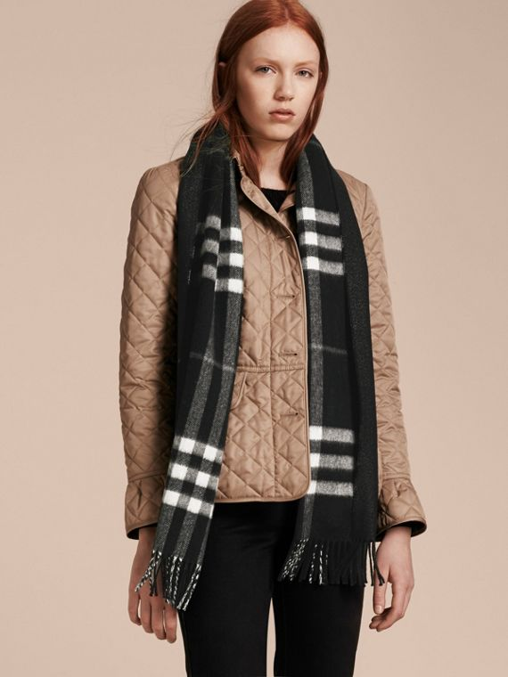 Reversible Metallic Check Cashmere Scarf Black - cell image 2