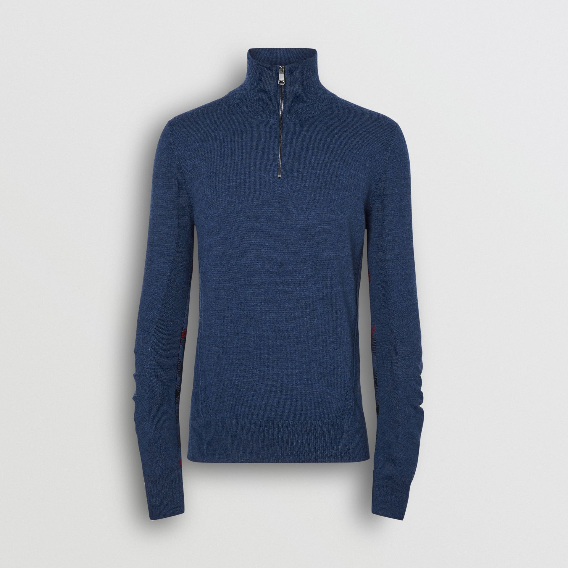 Merino Wool Half-zip Sweater in Storm Blue - Men | Burberry - gallery image 3