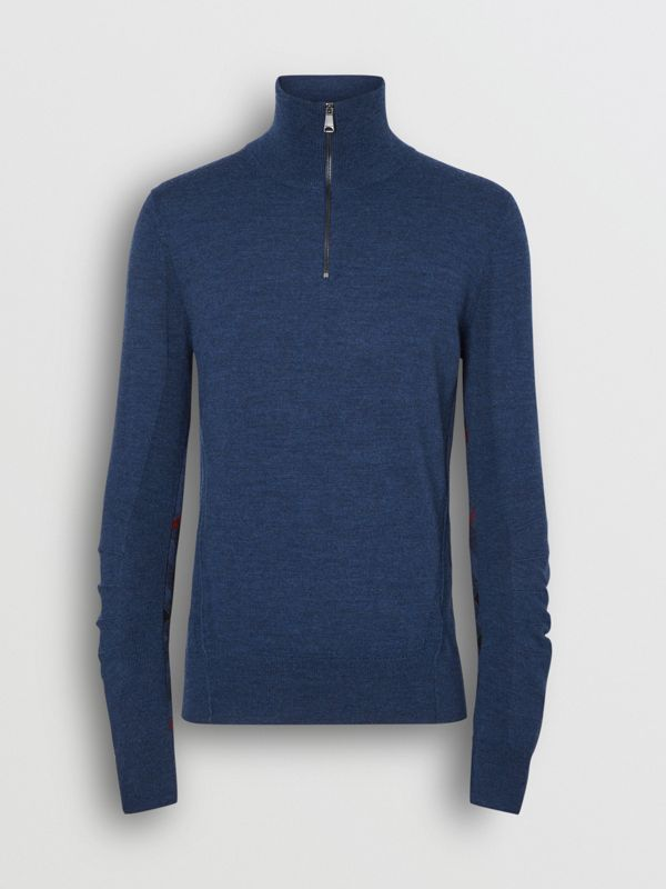 Merino Wool Half-zip Sweater in Storm Blue - Men | Burberry - cell image 3