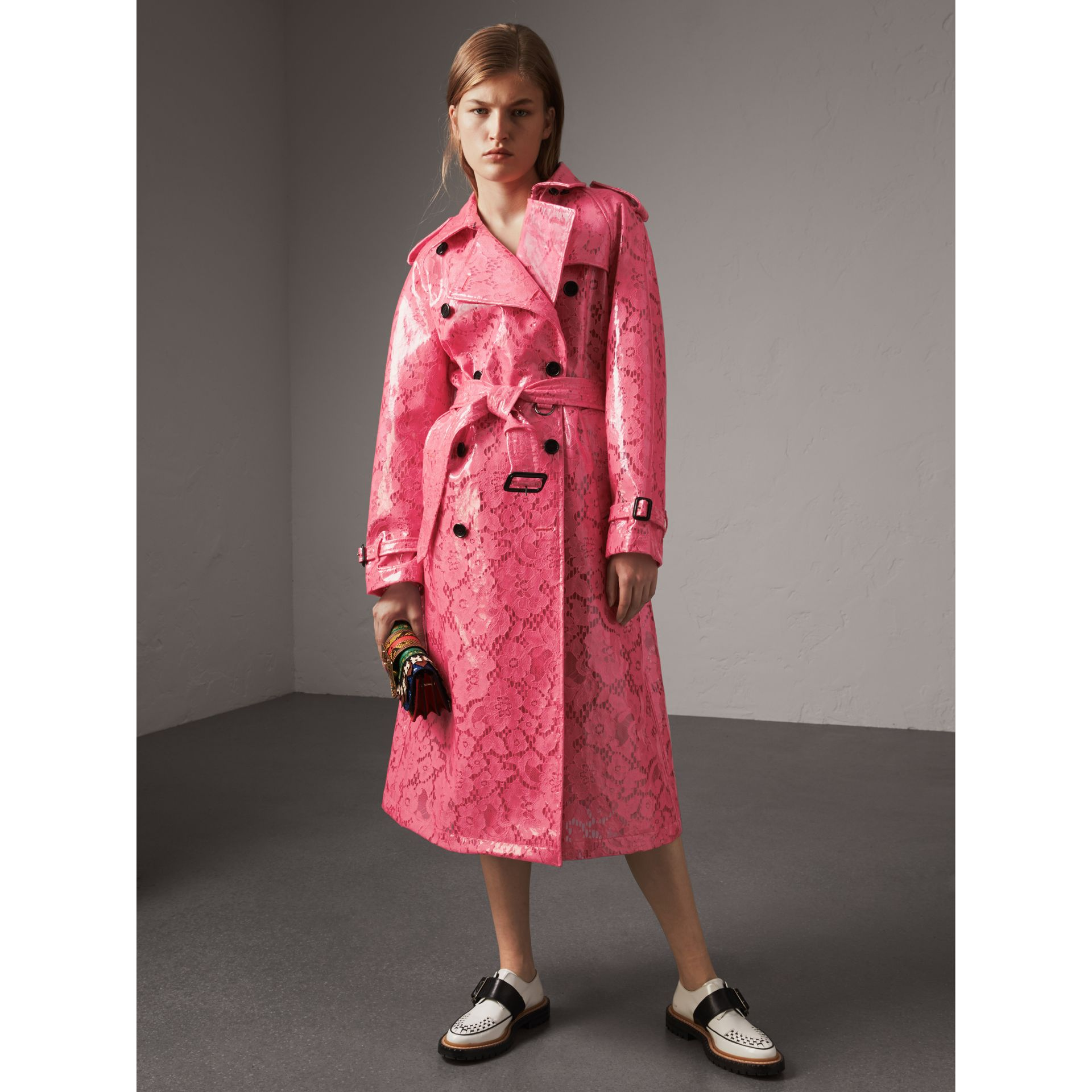 Laminated Lace Trench Coat in Bright Pink - Women | Burberry United Kingdom - gallery image 0