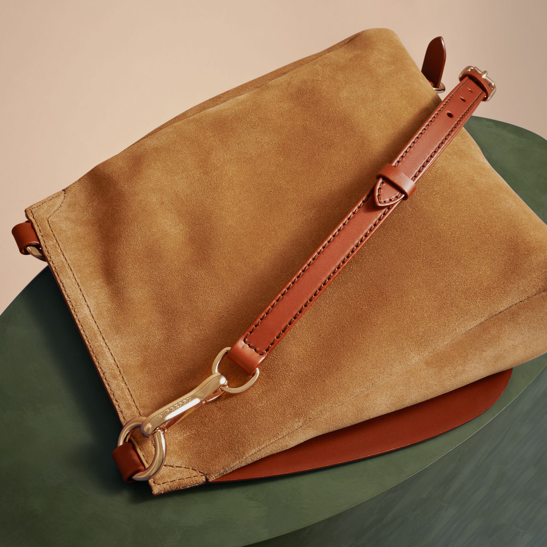 The Small Bridle Bag in Leather and Suede in Tan - Men | Burberry - gallery image 4