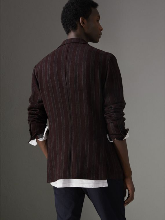 Soho Fit Striped Linen Tailored Jacket in Burgundy - Men | Burberry - cell image 2