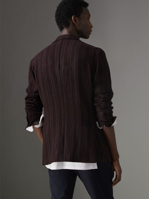 Soho Fit Striped Linen Tailored Jacket in Burgundy - Men | Burberry Canada - cell image 2