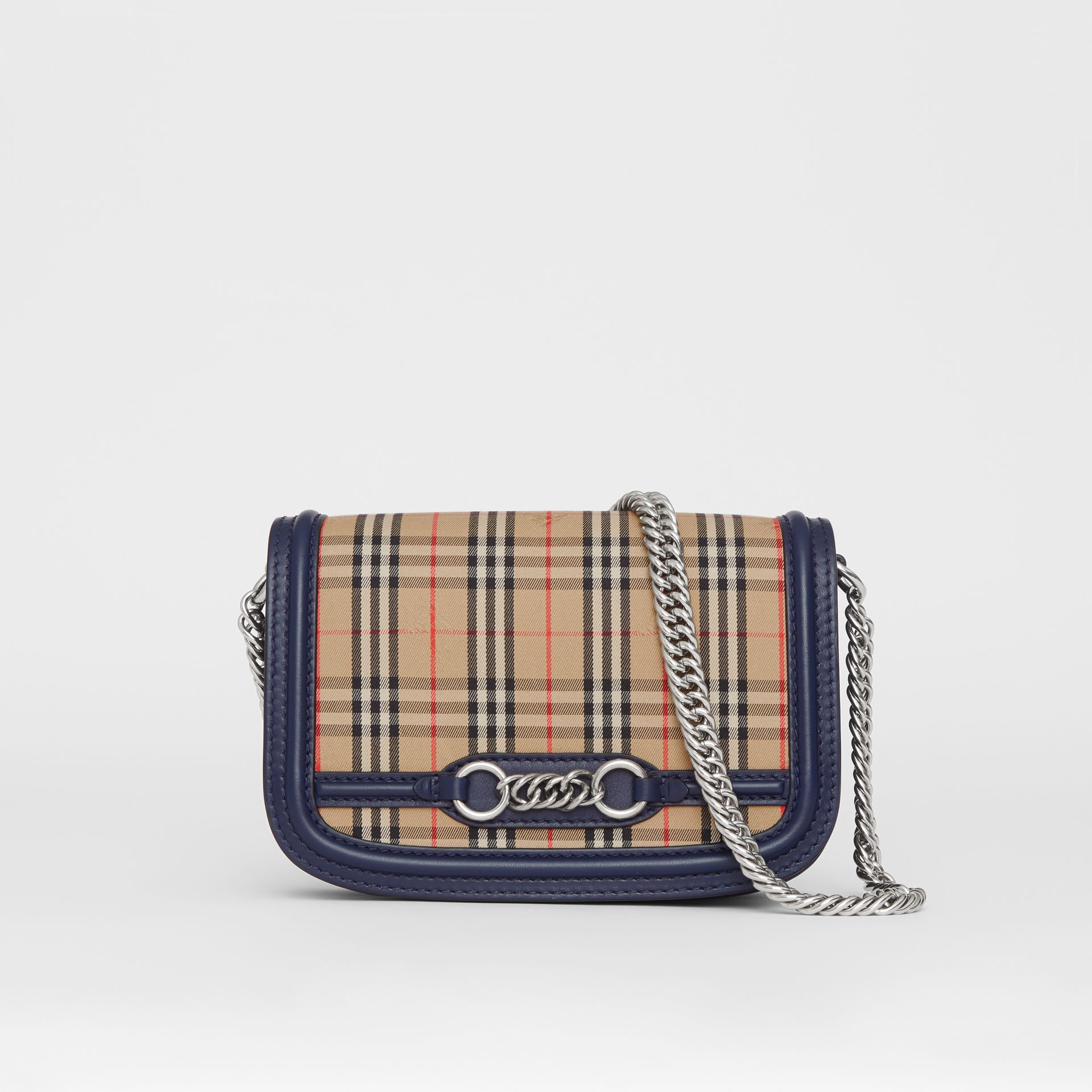The 1983 Check Link Bag with Leather Trim in Ink Blue - Women | Burberry United Kingdom - gallery image 0