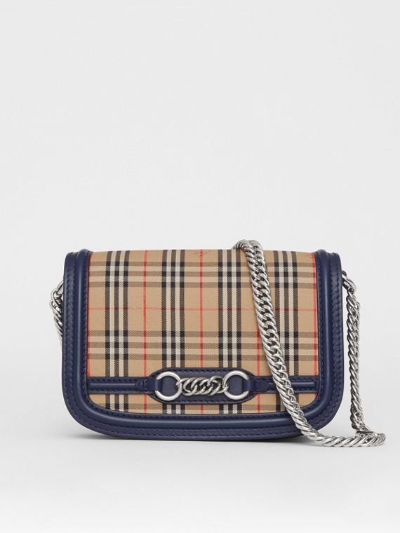 The 1983 Check Link Bag with Leather Trim in Ink Blue