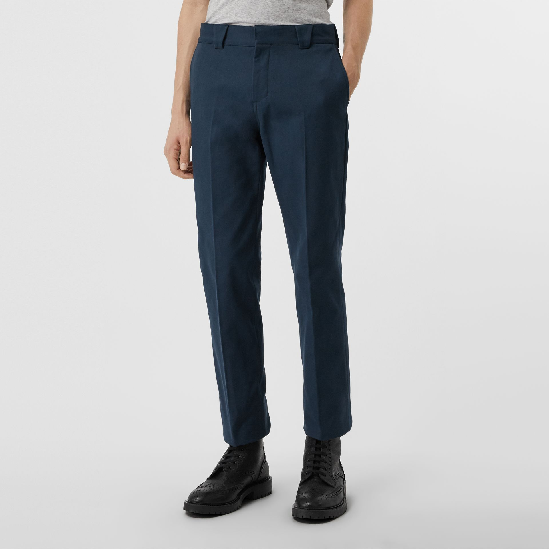 Technical Cotton Twill Trousers in Navy - Men | Burberry Canada - gallery image 3