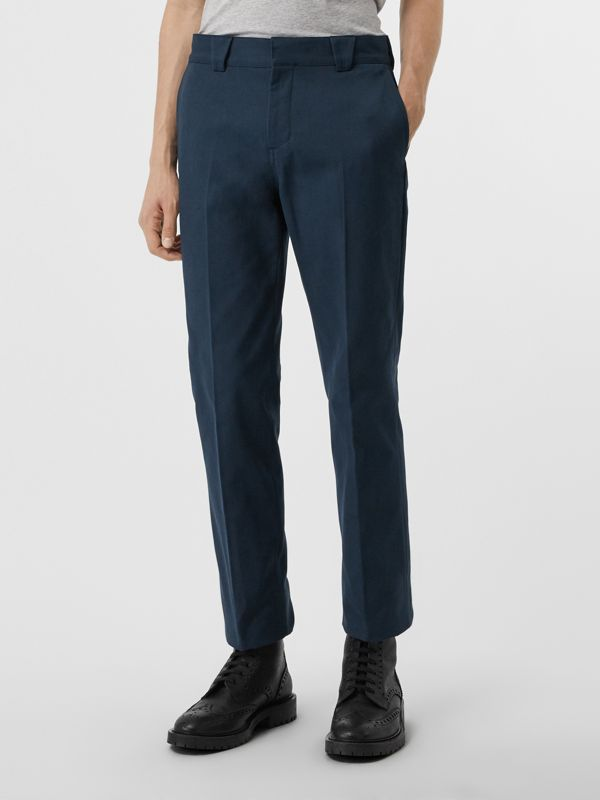 Technical Cotton Twill Trousers in Navy - Men | Burberry Canada - cell image 3
