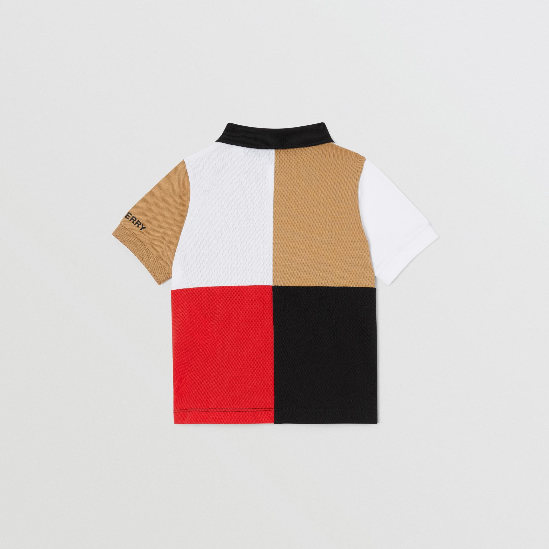 Colour Block Knit Cotton Polo Shirt in Archive Beige - Children | Burberry - gallery image 3
