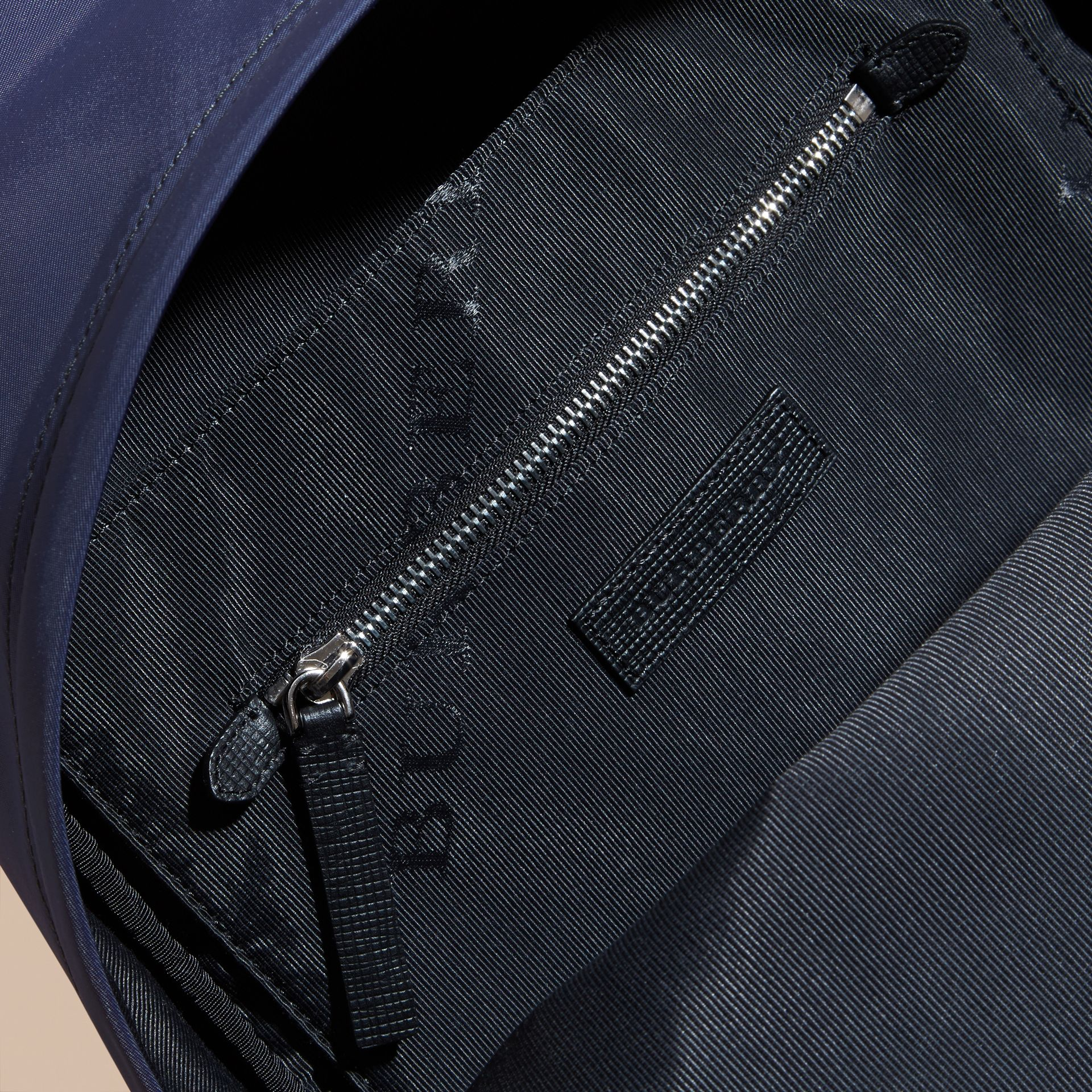 Leather and House Check Trim Technical Backpack in Slate Blue - gallery image 5