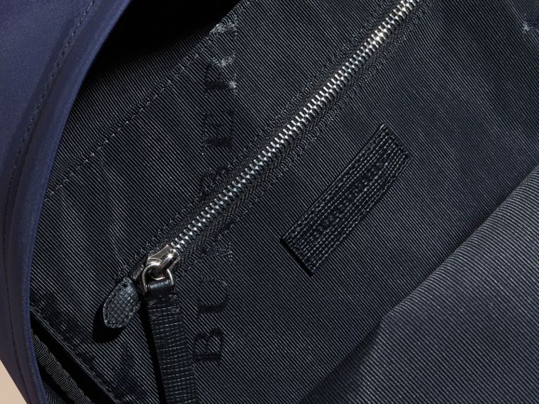 Leather and House Check Trim Technical Backpack in Slate Blue - cell image 4