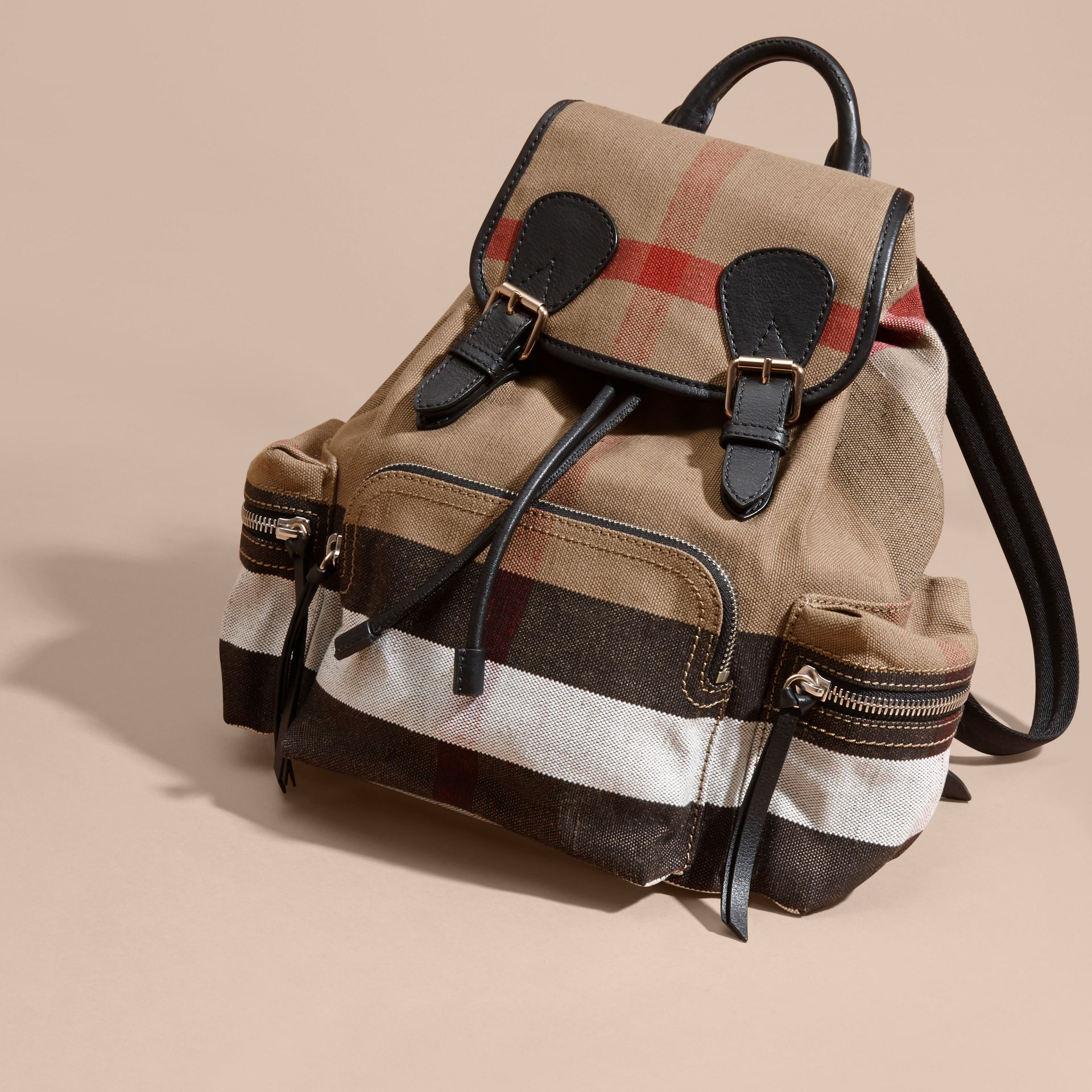The Medium Rucksack in Canvas Check and Leather - gallery image 7