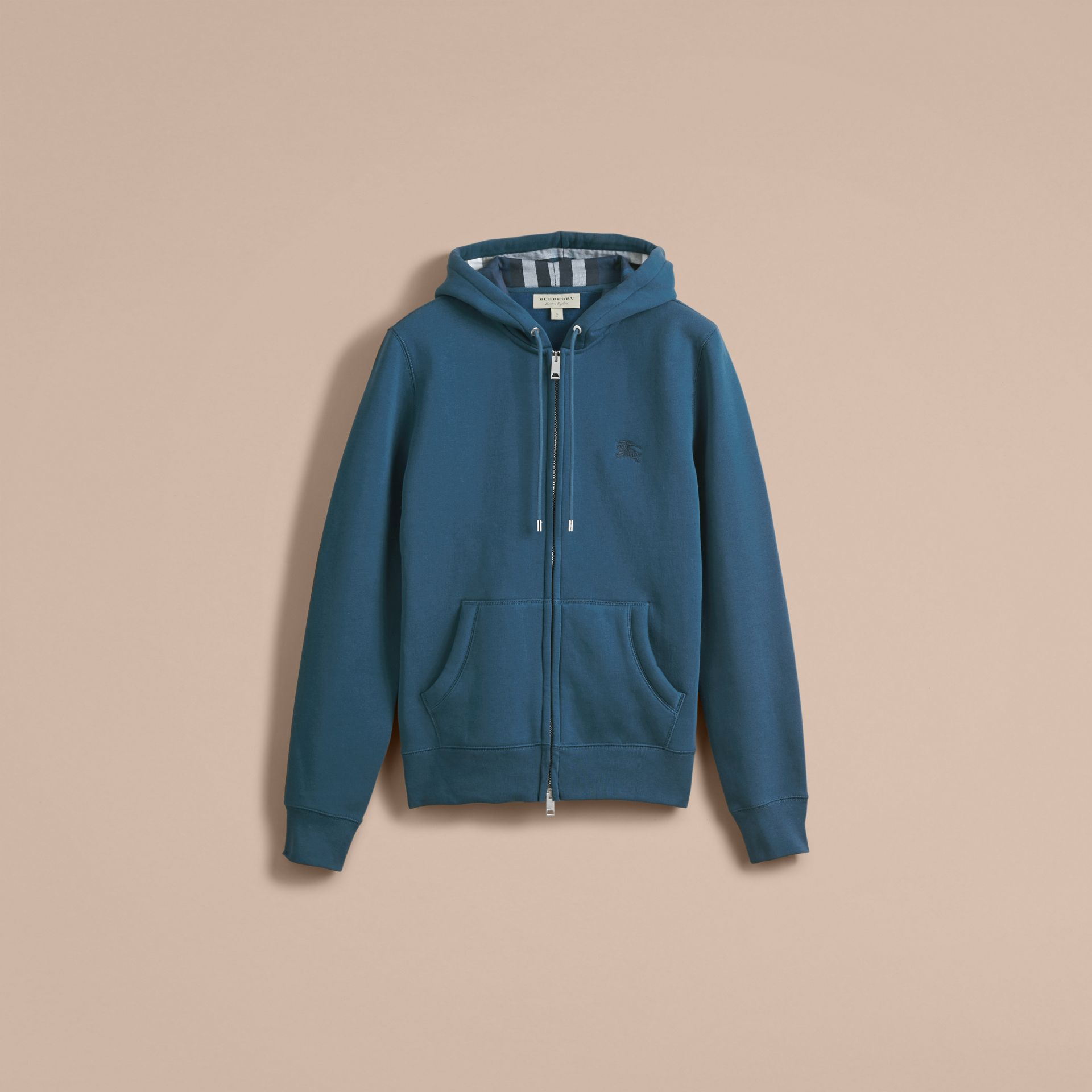 Hooded Cotton Jersey Top in Mineral Blue - Men | Burberry - gallery image 4